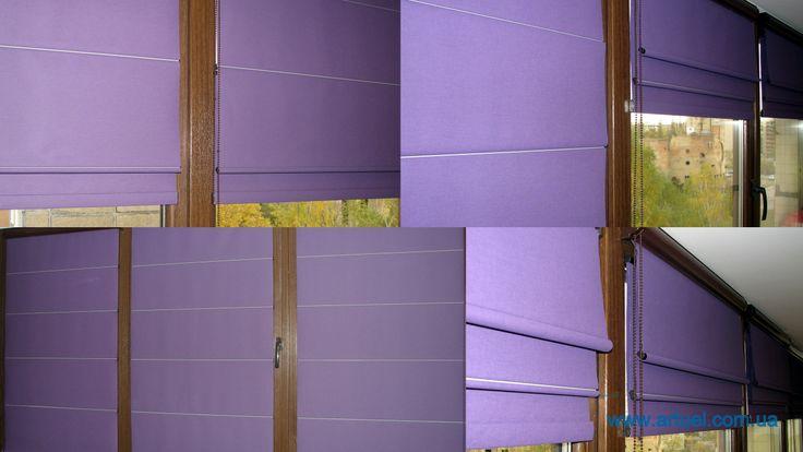 """Римские шторы для оконных створок. Нетривиальное решение, когда балкон стал продолжением комнаты. Шторные карнизы повесить некуда, а тканевые ролеты - выглядят """"просто""""."""