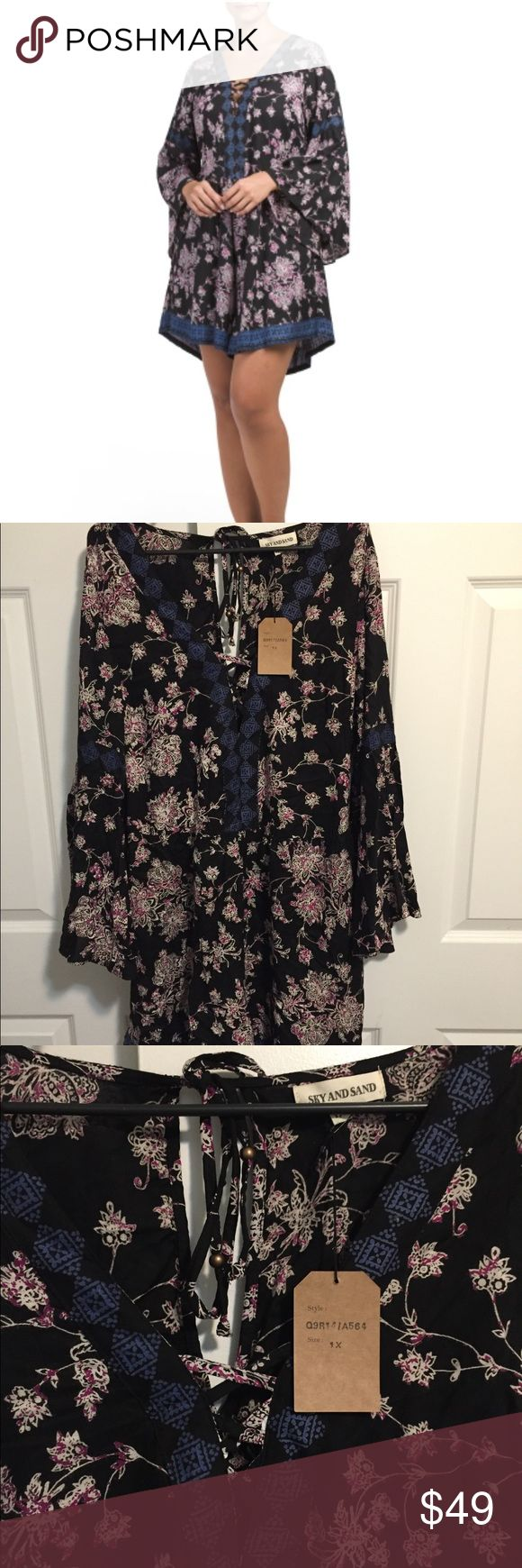 Boho Floral Romper Cute and sexy floral Romper with elastic waistband and tie behind the back! NWT make an offer! Sky and Sand Dresses