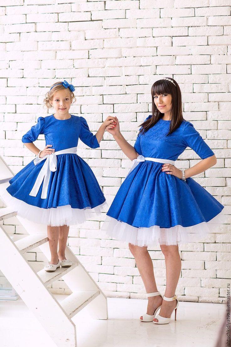 Синее жаккардовое платье с подъюбником - синий, нарядное платье, платье, пышное платье, фэмилилук