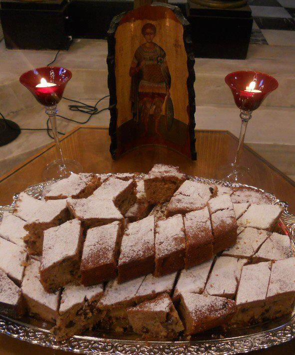 """Each year the Orthodox faithful bake a cake in honor of Saint Fanourios' (fah-NOO-ree-os) day on August 27th. He is believed to be the """"finder"""" of lost items for those who bake this cake and bring it to church as an offering of thanks or """"tama."""""""