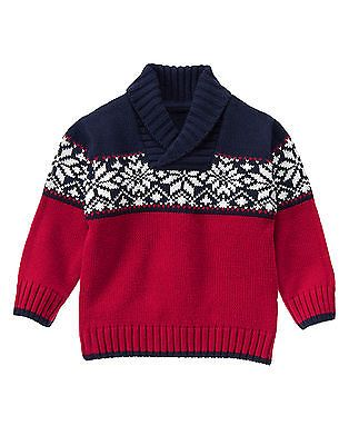 GYMBOREE Baby Boy Cheerful Red Navy Fair Isle Holiday Sweater Pullover 6-12M NWT