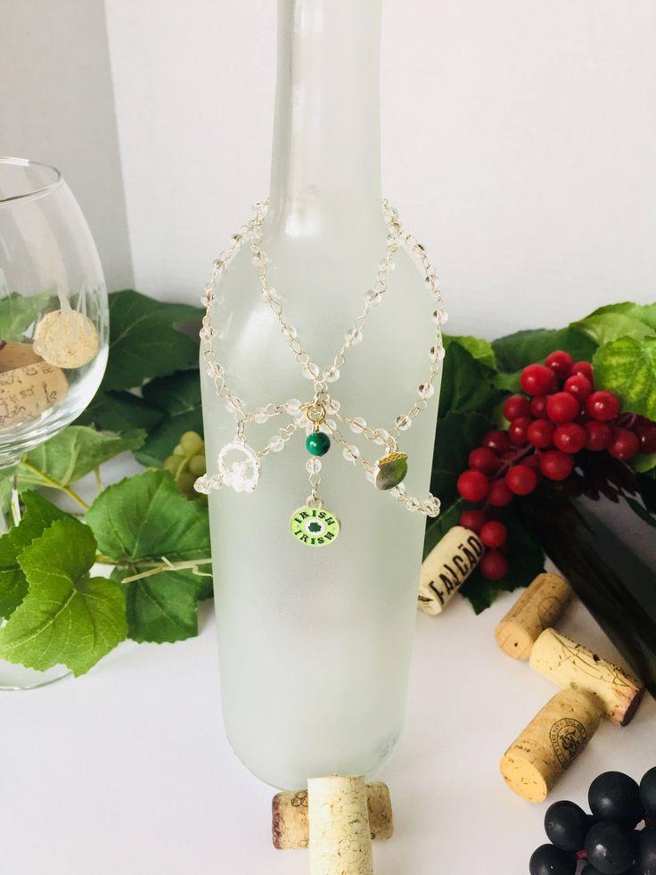Clover Bottle Charms, St Patricks Bottle Charms, Bottle Jewelry, Wine Bottle Charms, Wine Bottle Jewelry, Wine Gift Charms, Wine Lover by UncorkandPour on Etsy