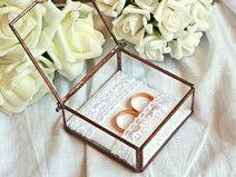 Hochzeit Ringkissen Ringbox Glas & Kupfer