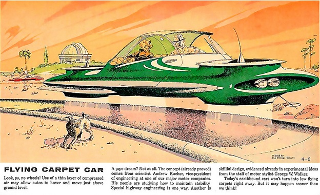 """The Hovercar 1958. The article states that this is """"no pipe dream!"""""""