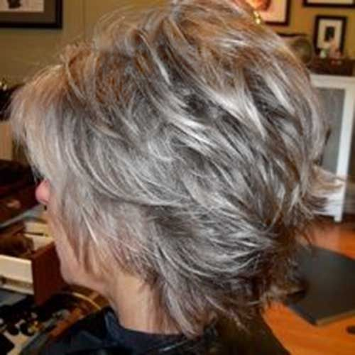 Short Pixie Gray Hair Back View