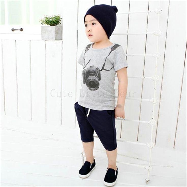 Kids boy clothing Camera Short Sleeve tees Summer Children Boy Kids Tops O Neck T Shirt Gray T Shirt cotton kid Clothes //Price: $US $2.49 & FREE Shipping //     #clothing