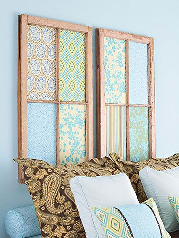 Window Frames     For a new outlook in your bedroom, find old window frames that measure about the width of your bed. Remove the glass and cut fiberboard to fit in the openings. Cut favorite fabrics to fit each section and adhere them to the fiberboard with spray adhesive. Install the fiberboard in the frame openings