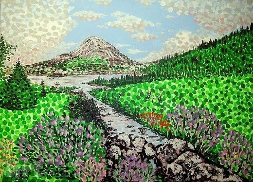 'Mount Errigal' acrylic-on-canvas by Alan Hogan. #nature #landscapes #ireland #mounterrigal #donegal #paintingthenation #mountain #hill #green #paintings #art #konst #artists #gallery #artcollector #stream #canvas #irishscenery #scenery #land #irish #allthingsirish #paintthenation #colors #gweedore