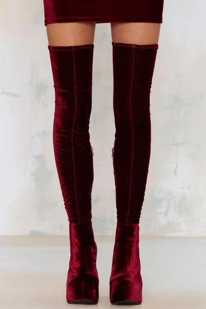 Jeffrey Campbell Bedelia Velvet Thigh-High Boot - Dark Romance | Dark Romance | Knee High