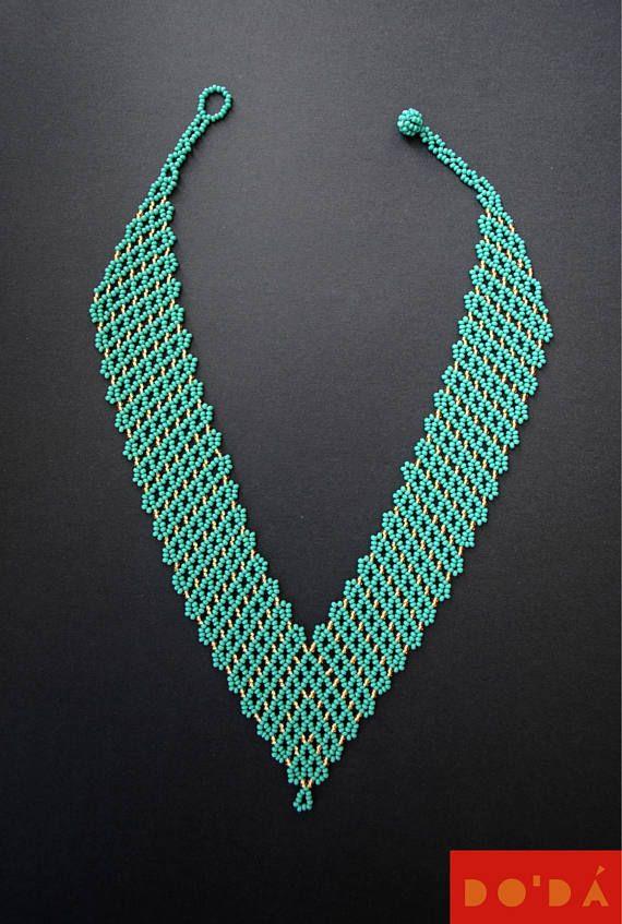Indigenous Necklace / aquamarine gold / green bronze /