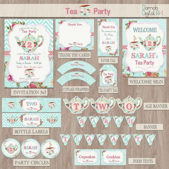Tea party birthday Tea for two Tea party party por DamabDigital