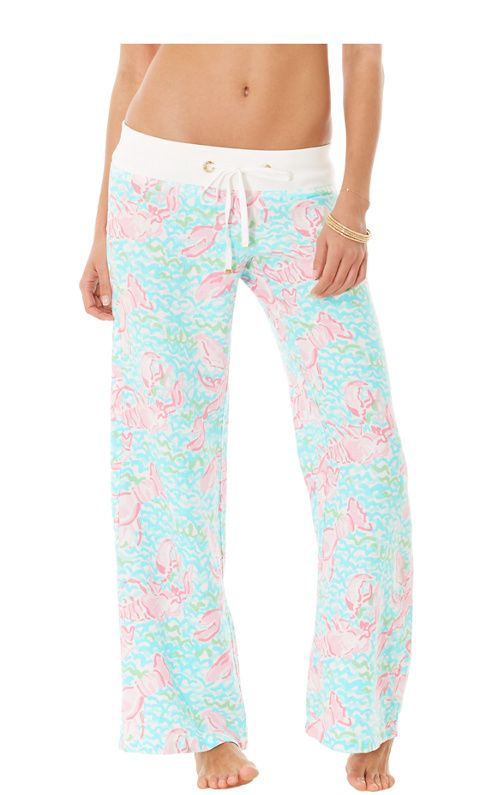 Lily linen beach pant in 'Lobstah Roll' print.  Perfect for an evening stroll on the beach in front of Ocean Colony 7 in Ocean City, Maryland.