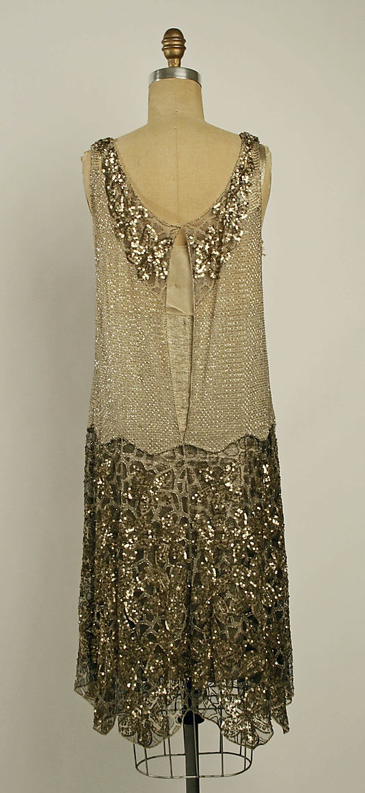 French flapper dress - back - 1926-1927 - Made in France - Cotton, beads dress - The Metropolitan Museum of Art