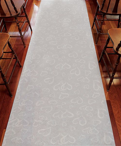 Aisle Runner - White With All Over Heart Design - White With Hearts