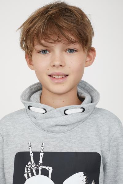 H Amp M Chimney Collar Sweatshirt Gray Models Boy Kids