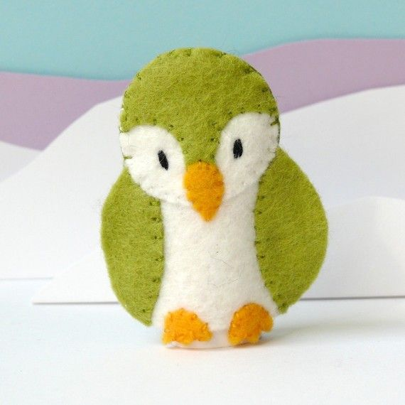 SALE - Pastel Penguin Family - 5 Wool Felt Finger Puppets