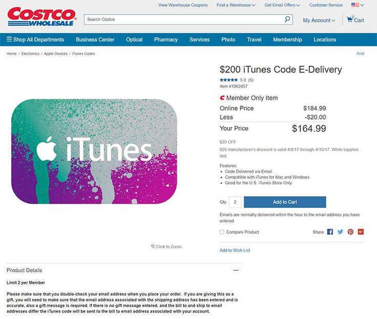 U.S. iTunes gift cards discounted until 04/15/17 @ costco.com. 20% off  20$ off