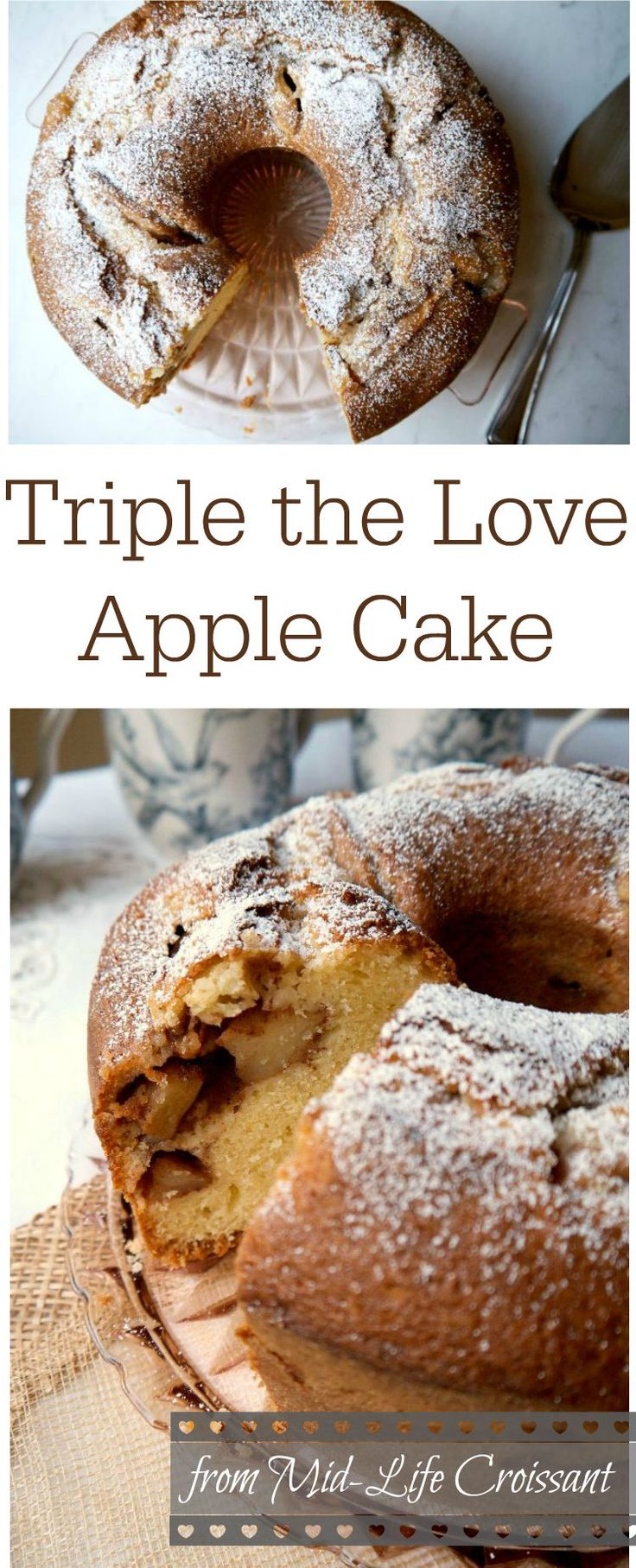 Traditional apple cake recipe with a moist crumb and sweet strains of cinnamon throughout. via @midlifecroissnt