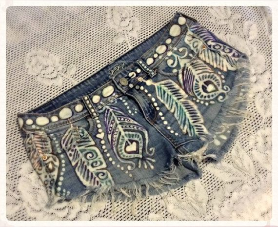 Upcycled Denim Shorts with Feather Design hand by reMusedClothing