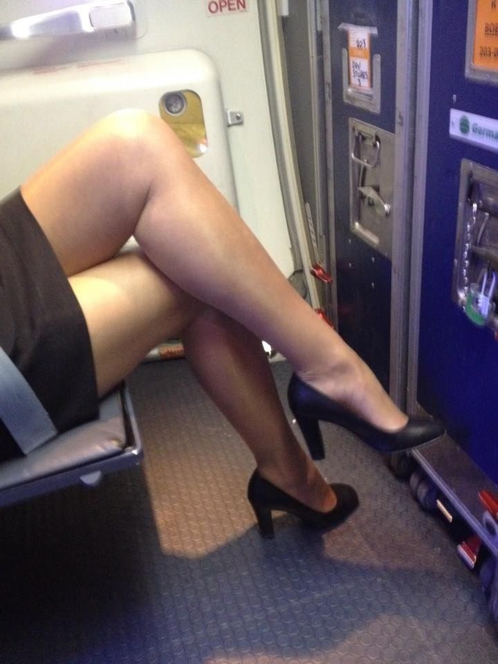Air stewardess in pantyhose