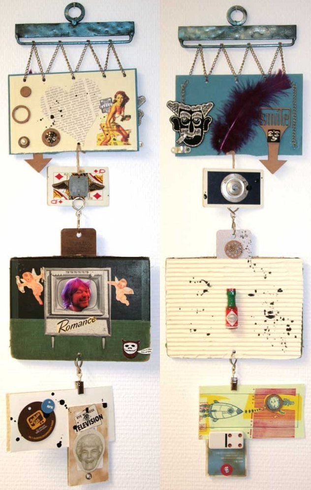 Gauche Alchemy - mixed media wall hanging by Linda Brun