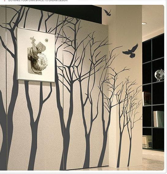 for going up the stairs? Vinyl Wall Decal,Wall Sticker, tree decal murals, wall art-7 winter trees. $68.00, via Etsy.