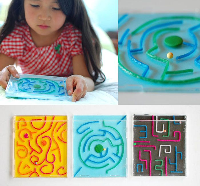 Labyrinths with wiki sticks, fimo clay and a cd case. Yes! This would be great for a travel busy book!
