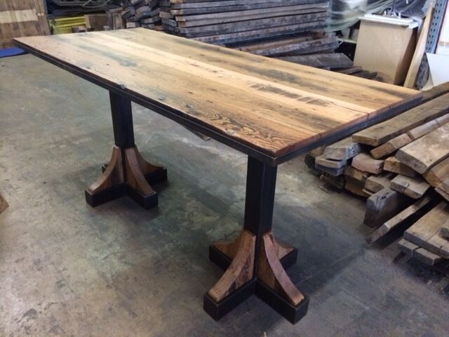 Custom reclaimed wood high top dining table by Peter Thomas Designs in  Phoenix, AZ.