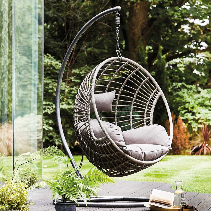Castello hanging chair with base grey available online at
