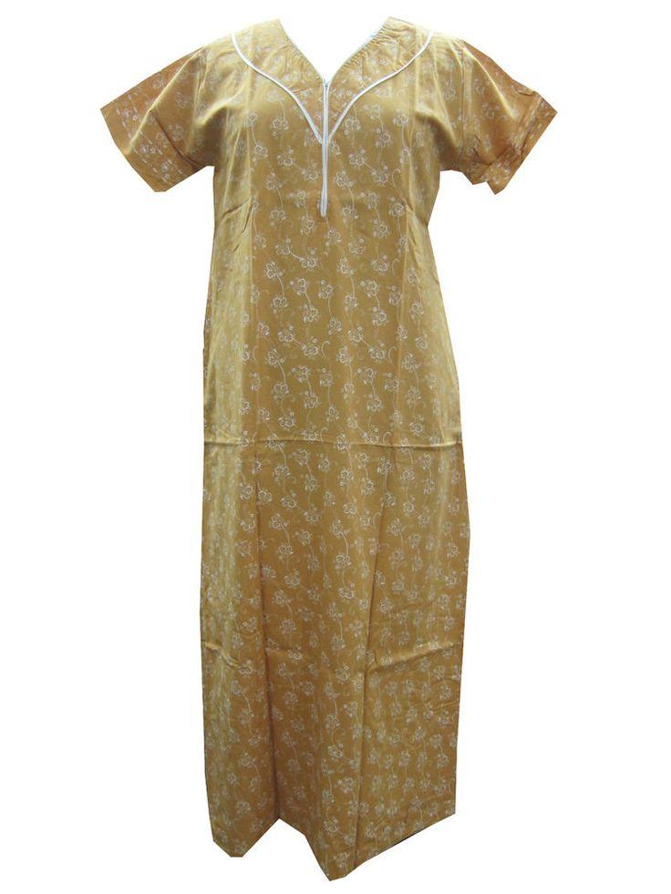 Cotton ladies Nightwear Yellow sleepwear Maxi Dress