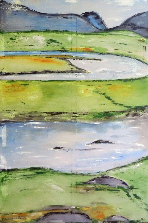 Maleri: Elven - Mål 100x150cm En tur til Norge er oplevelse og indtryk.