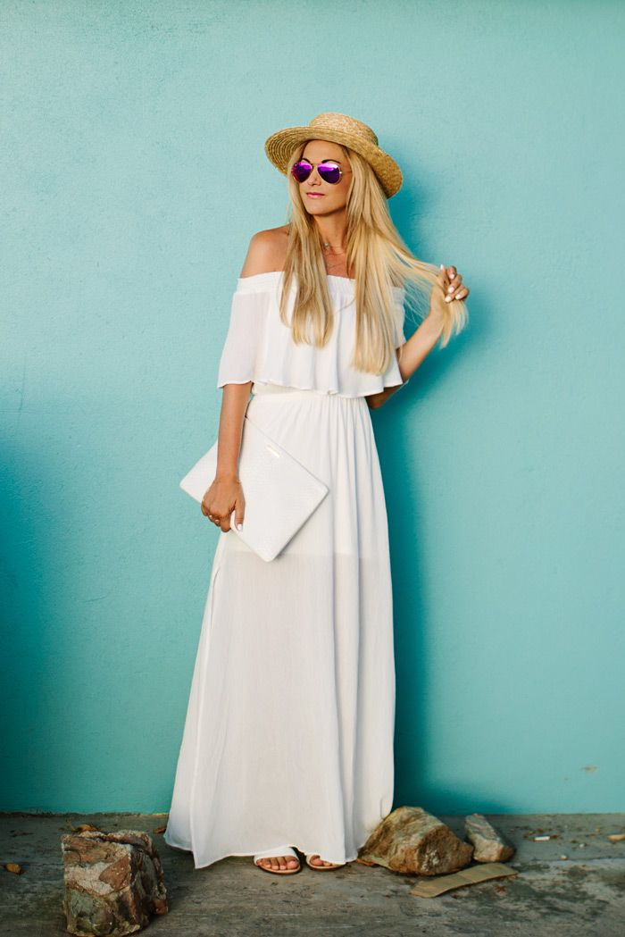Long white off-shoulder maxi. I'm obsessed with the pink aviators too.