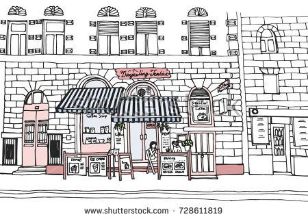 Hand drawn illustration of cafe