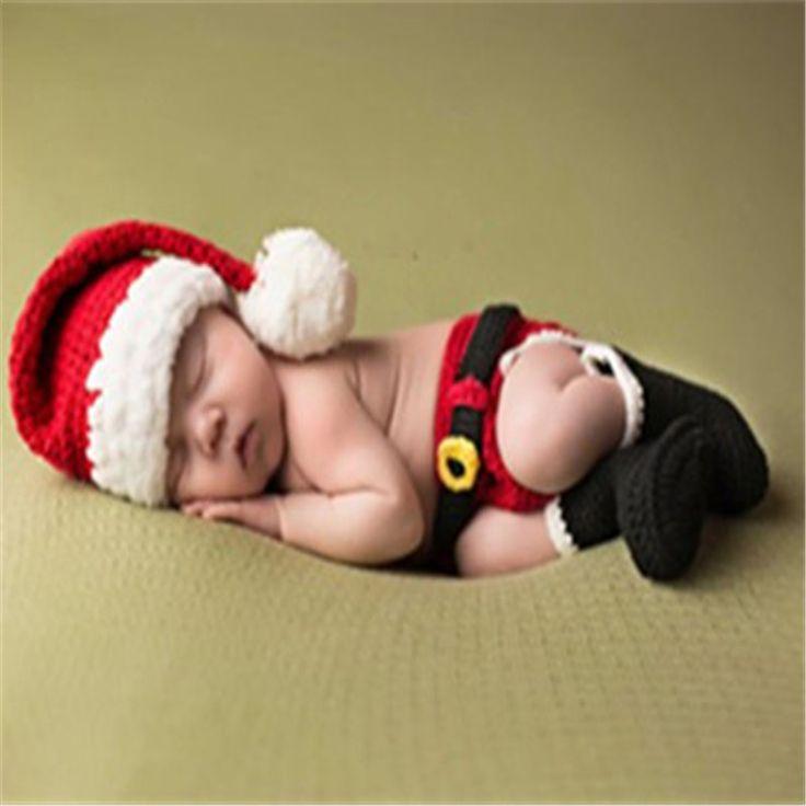 Hermoso Bebé de la Navidad Conjunto de Punto Sombrero de Los Nuevos Niños De Hermoso Bebé Recién Nacido Photography Ropa Traje de Los Niños Conjunto Hecho A Mano(China (Mainland))