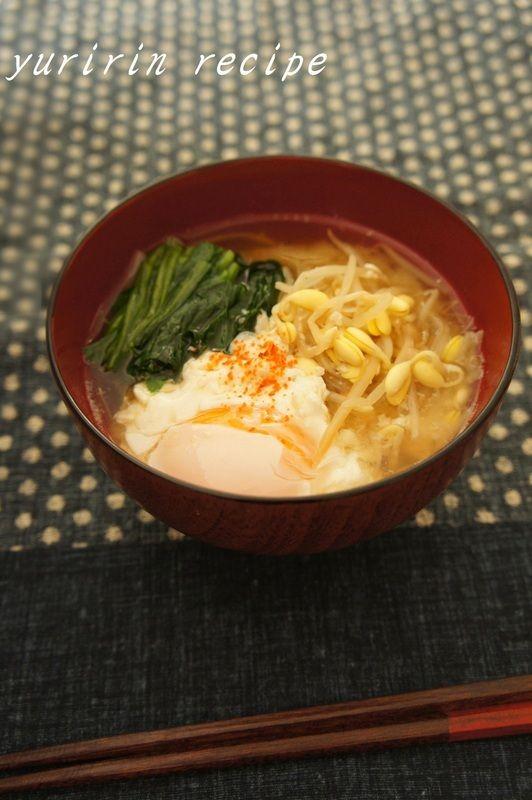 ほうれん草と大豆もやしのお味噌汁 - 朝ごはんレシピ/朝時間.jp by レシピブログ