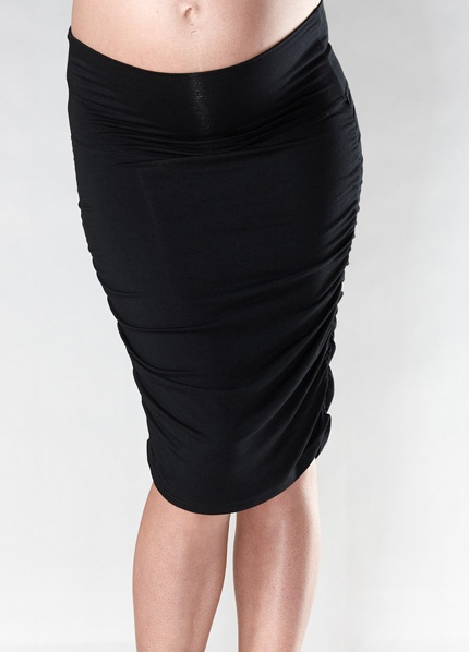 Soon Maternity - Black Ruched Maternity Skirt - Maternity Clothing - Queen Bee Maternity Wear Online