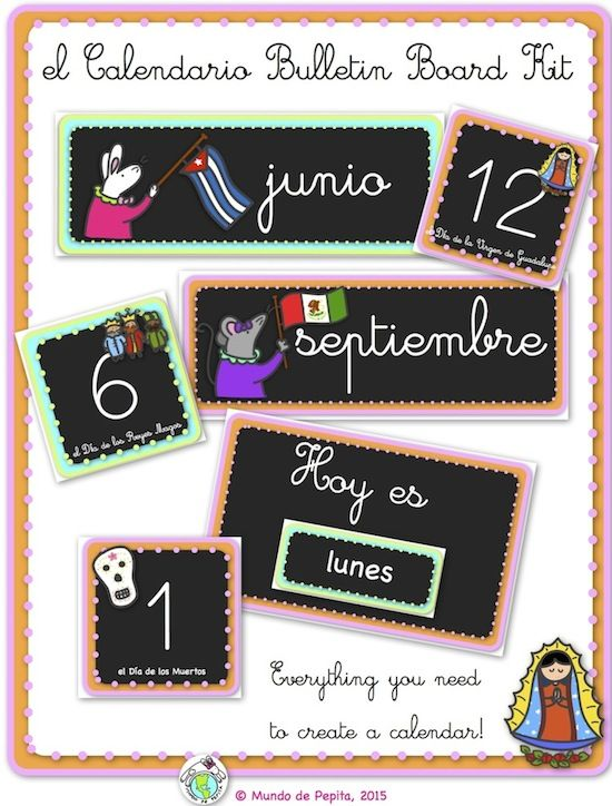 66 best images about spanish bulletin boards decor posters for Calendar bulletin board printables