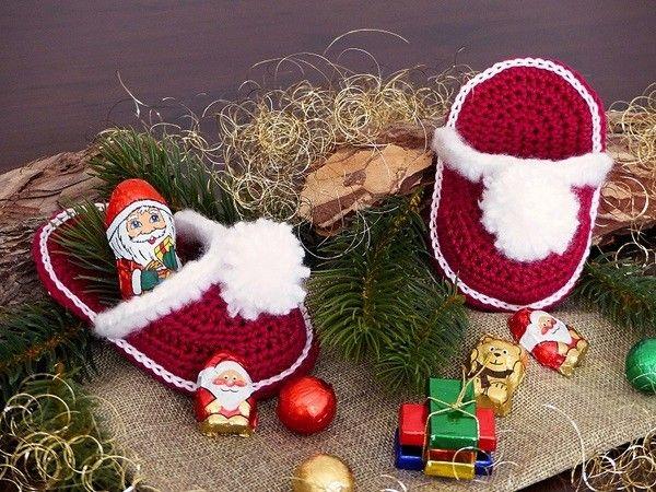 Kleine Weihnachtspantoffeln Häkelanleitung