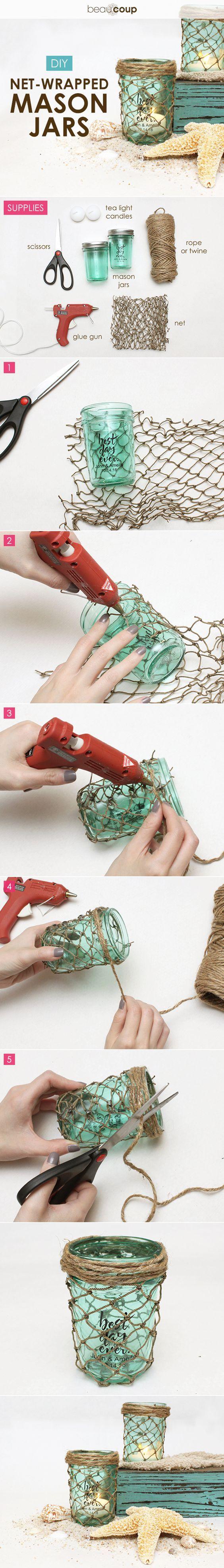 DIY net-wrapped mason jars for a romantic beach wedding / http://www.himisspuff.com/diy-wedding-centerpieces-on-a-budget/20/