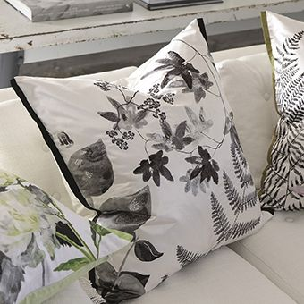 Jindai Graphite - Embroidered And Digitally Printed Silk Floral Cushion | Designers Guild UK