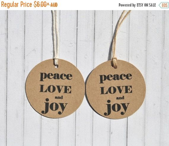 10% Off Christmas Sale Peace Love and Joy Kraft Gift Tag, 2 inch Round Gift Tag, Circle Gift Tag, Pack of 10, 20, 50, 100 or custom sized pa - Colourscapes