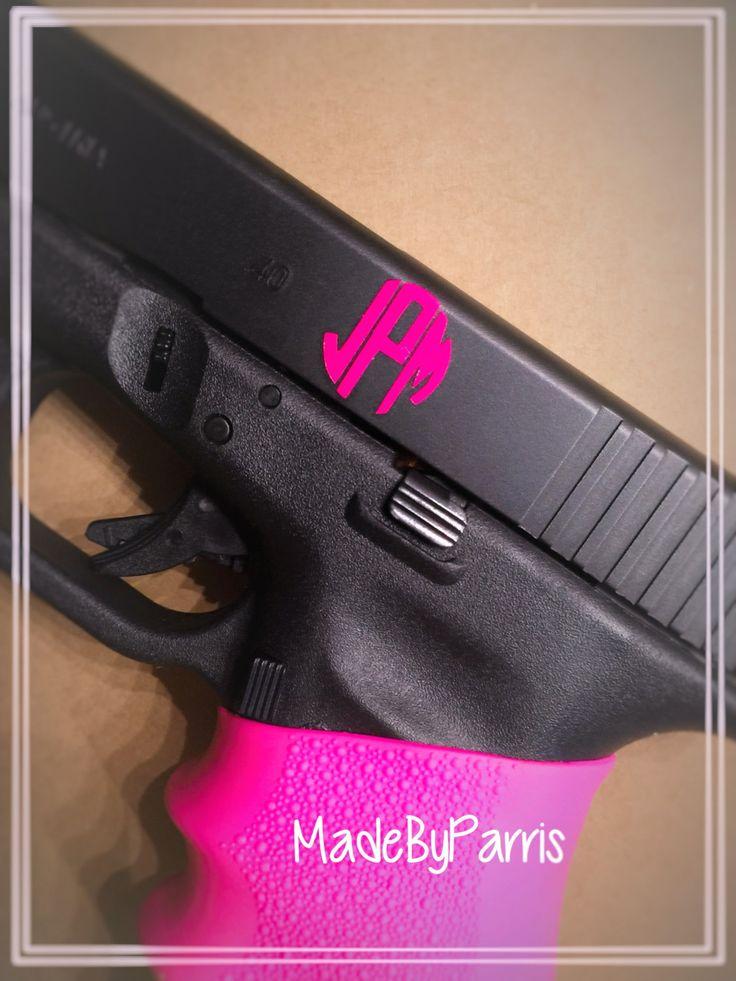 Gun Monogram Decal, Monogram Decal, Gun Decal, Circle Font ...