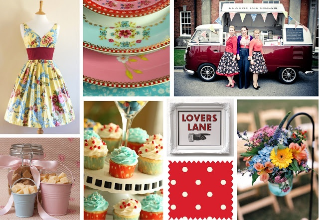 Love this bright 1950's style wedding