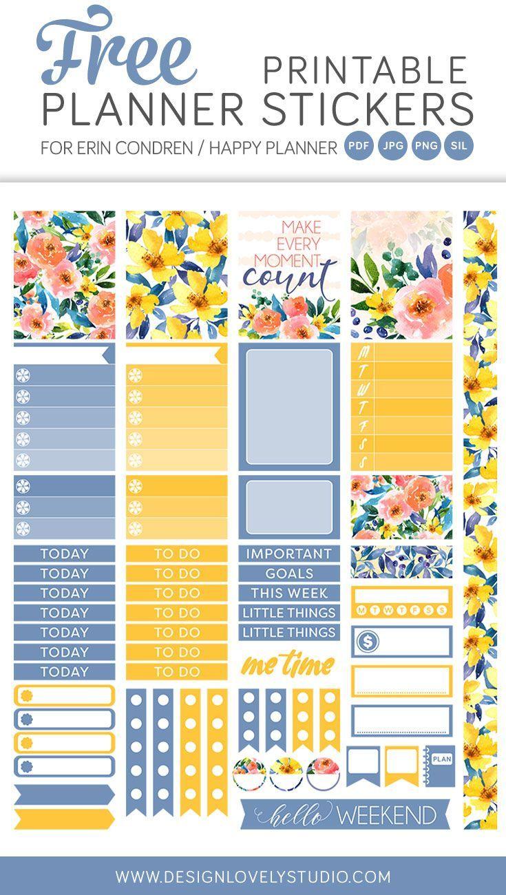 FREE printable planner stickers kit, Planner Freebie, Floral Planner Stickers, Printable Planner Stickers