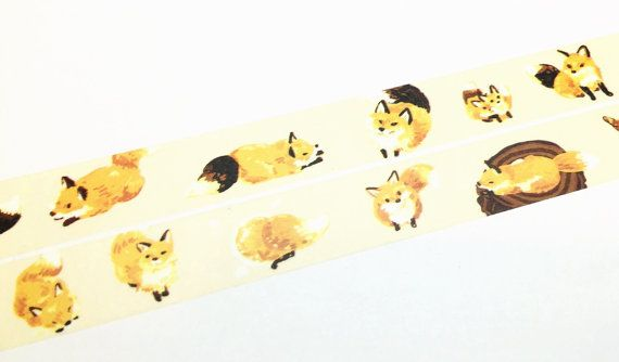 Cute little fox washi tape T00420 by Meowashitape on Etsy
