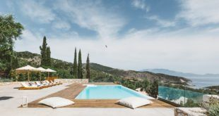 GREEK STYLE VILLA - Pool with cypress trees and hilltops in the distance