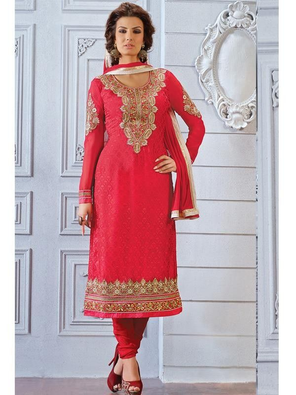 Red Zari Embroidery Designer Salwar Suit - Salwar Suits