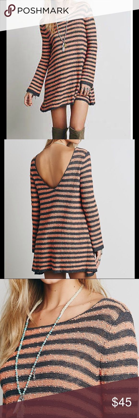 """FREE PEOPLE COUNTING STRIPES SWING TUNIC FREE PEOPLE COUNTING STRIPES SWIMG TUNIC IN GRAPHITE. LOW BACK, SLIGHTLY NUBBY TEXTURE. Approx 19""""PTP, 34""""L. Free People Dresses"""