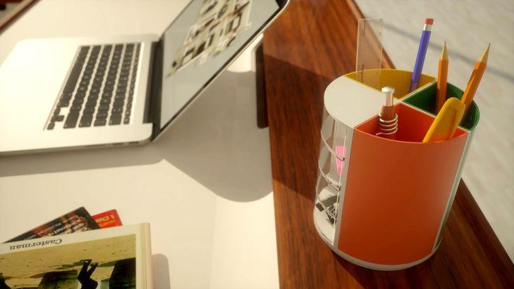 Tip proiect: Proiectare 3D, Simulare 3D Client: Confidential Timp executie: 5 ore Detalii: design si simulare 3D a unui suport de pixuri personalizabil, printabil pe imprimanta 3D.