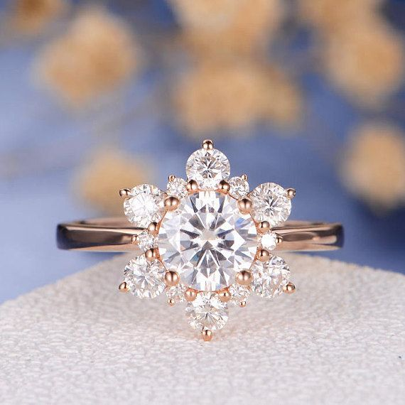 Unique Moissanite Engagement Ring Rose Gold Flower Snowflake